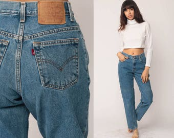 Mom Jeans LEVIS High Waist Levi Jeans 80s Jeans Denim Pants 550 Baggy 90s Vintage Faded Blue Hipster Medium 29
