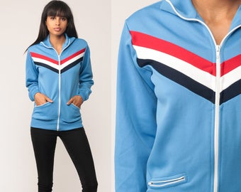 Track Jacket Zip Up Sweatshirt 80s Chevron Striped Baby Blue Retro Jacket 1980s Sports Vintage Old School Small Medium