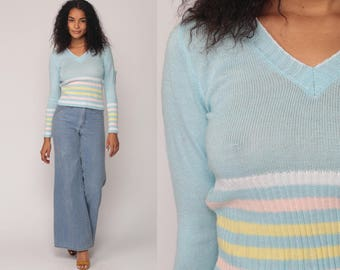 Pastel Sweater 70s Striped Sweater Baby Blue Pink V Neck Knit Pullover 1970s Vintage Semi Sheer Extra Small xs