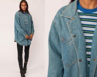 Jean Shirt Denim Over Shirt 90s Blue Jean Jacket OVERSIZED Grunge 80s Long Sleeve Boyfriend Button Up Vintage Cotton Retro Large