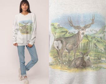 Deer Sweatshirt Animal Sweatshirt 80s Jumper Pullover Wildlife Shirt Buck 90s Hipster Raglan Sleeve Grey Vintage Slouchy Extra Large xl