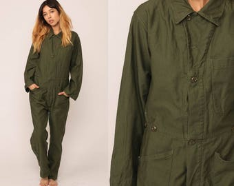 Military Jumpsuit Army Coveralls Button Up 80s Grunge Pantsuit Vintage Long Sleeve Romper Olive Green High Waist Small