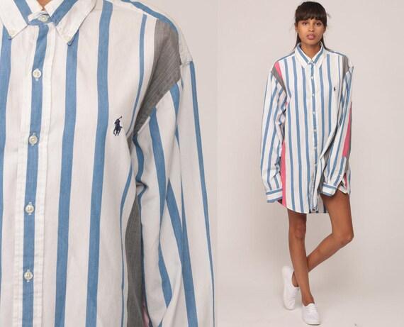 Ralph lauren shirt 90s striped shirt button up polo sport for Button up collared sport shirts