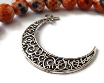 Filigree Crescent Moon Pendants Antique Silver Color (4)