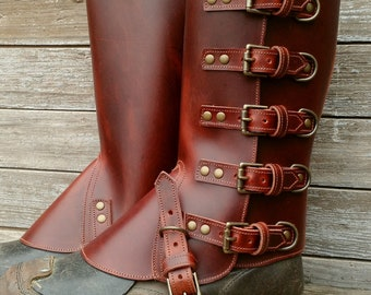 Taller Swiss Military Style Gaiters or Spats in Glossy Cherry Leather Antiqued Brass 5 Buckle Hardware