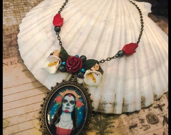 Death and Lilies Victorian Necklace