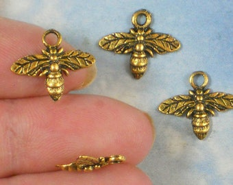 BuLK 50 Honey BEE Charms Antiqued Gold Tone 13mm x 15mm Bee Keeper Garden Charm  (P1429 -50)