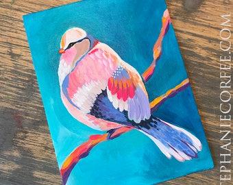Puffy Rainbow Bird - Original acrylic painting on canvas, colorful painting, bird painting, rainbow painting