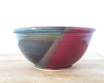 "Raspberry/Twilight Blue Large 9"" Handmade Bowl-- Hand made stoneware ceramic serving mixing bowl - large ceramic blue mixing bowl"