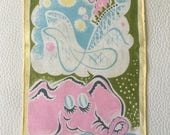 SALE, Pink Elephant Cocktail Napkin, Tempsett Napkin, Mid Century Linens, Framable Textile Art, Rollercoaster, 1950s Napkins, Pastel Napkins