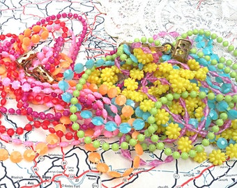 layering necklaces assemblage gypsy summer rainbow recycled vintage jewelry colorful sprite multi chain
