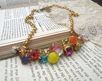 rhinestone dangle assemblage necklace colorful rainbow button style summer gypsy colorful drops
