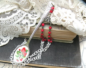 strawberry spoon necklace assemblage berry fruit enamel repurposed found object upcycled vintage jewelry