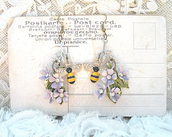 romantic lilac earrings assemblage enamel flower bee garden upcycled vintage jewelry cottage chic
