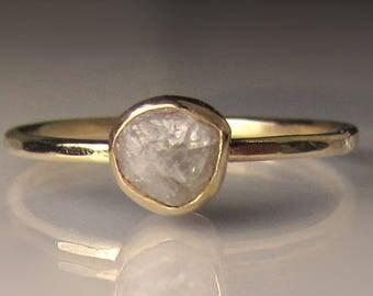 Raw Diamond Engagement Ring, 14k Yellow Gold Rough Diamond Ring, White Raw Diamond Ring