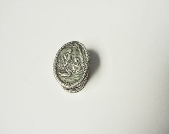 Antique Italian silver Children and Swan Tiny Oval Pill Box.