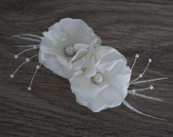 White Silk Rose Bridal Hair Accessory with feather, pearl and rhinestone details for wedding