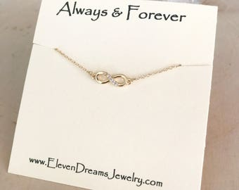 """Item of the Month SALE! Gold and Cubic Zirconia """"Always & Forever"""" Carded Infinity Necklace ."""