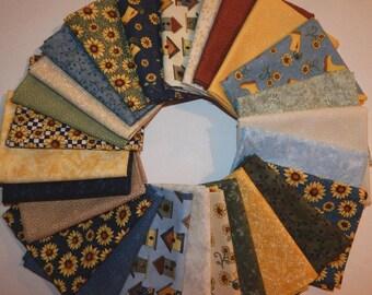NEW Sunshine Garden Sunflower Quilt Fabric 100% Cotton 26 Coordinating Fat Quarters