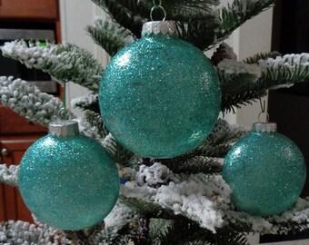 Set of 3 Teal Glass Orbs Christmas Tree Ornaments