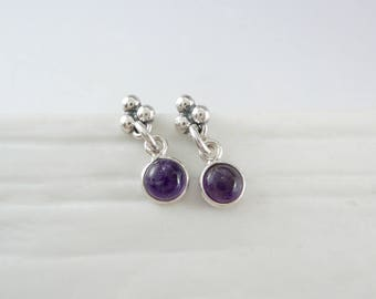 Amethyst Drop Earrings, Purple Earrings, February Birthstone Earrings, Small Stud Earrings, Small Drop Earrings, Post Earrings, 925 Silver