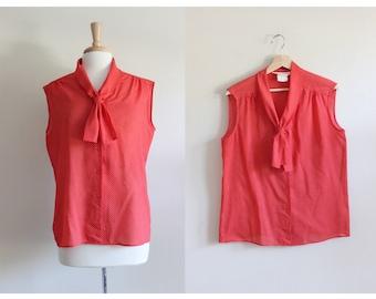 Vintage 1970s Sleeveless Red Polka Dot Ascot Tie Top