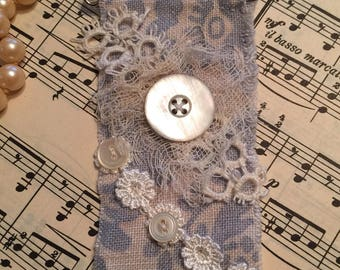 Tattered, shabby chic, linen, lace and buttons kilt pin, boho chic, victorian