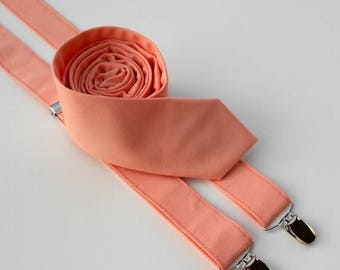 SALE Peach Necktie and Suspenders - Skinny or Standard Width - Men's, Teen, Youth           2 weeks before shipping