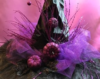 Purple pumpkin witch hat