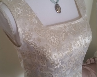vintage corset, gold brocade corset, medieval look, gold embroidery, medieval costume
