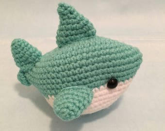 Marshmallow the Mint Shark Amigurumi - Jaws - Kawaii - Ready To Ship
