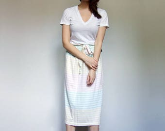Summer Skirt Womens Vintage Clothing Pastel Striped Skirt Summer Fashion - Medium to Large M L
