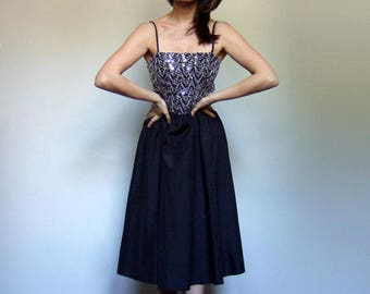 70s Silver Sequin Dress Black Metallic Prom Dress 1970s Sequined Party Dress - Medium M