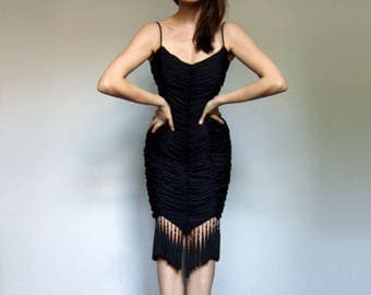 80s Party Dress Black Tassel Dress Vintage Bodycon Cocktail Evening Dress - Extra Small XS XXS
