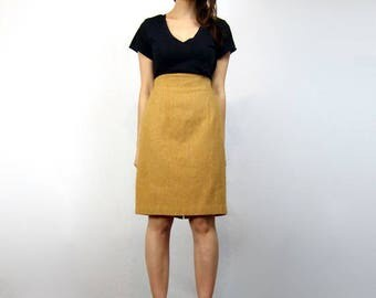 Mustard High Waisted Skirt 80s Yellow Knee Length Skirt Vintage 1980s Pencil Skirt - Small S