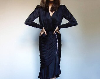 80s Party Dress Black Rhinestone Cocktail Dress Vintage Long Sleeve Gown - Small to Medium S M