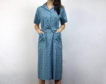 1950s Floral Shirt Dress with Pockets Vintage Collared Blue Sundress Nancy Frock - Medium to Large M L