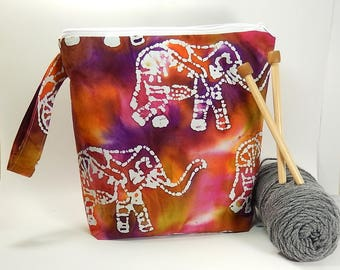 Project bag, knitting, elephant fabric, large zipper pouch, yarn bag, knitters gift, knitting pouch, tote with wrist strap