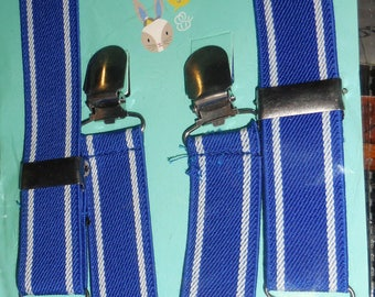 Kids Suspenders Blue and Whire Stripe Ages 3 Up Dead Stock  Ships Free