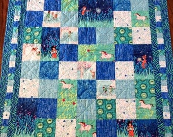 Baby quilt, crib/stroller quilt, play mat, baby gift, Wee Wander fabric, Kaffe Fassett fabric, child quilt, patchwork quilt, quilts, baby