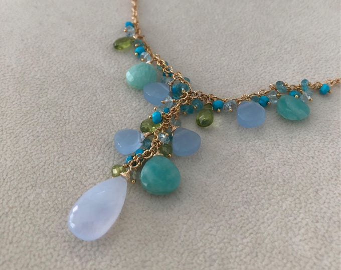 Semiprecious Gemstone Y-Necklace in Gold Vermeil and Blue Chalcedony, Amazonite, Peridot, Blue Topaz, Turquoise, Moonstone, Apatite, Prehnit