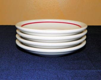 Set of 4 saucers of Shenango China Restaurant Red Stripe, 4 Pieces (4 Sets available)