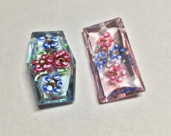 Gorgeous Drilled Italian Glass Flower Beads //just add a bale for pendant