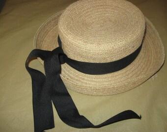 FACINIE hat   wonderful weaved stron straw hat with black long ribbon
