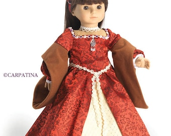 "Medieval Tudor Princess Doll Dress fits 18"" Dolls like American Girl or Our Generation or Journey Girl Dolls"