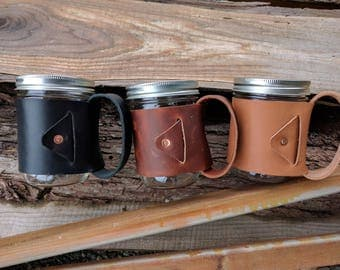 In Irons - Leather Wrap for Mason Jar - Jar NOT Included