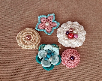 Crochet Flower Patterns, 5 Crochet Flowers Pattern, Crochet Flower Applique Pattern, PDF file, Embroidery Projects, Crochet Roses Pattern