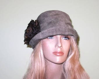 Green Tweed Cloche Fall Winter Women's Hat