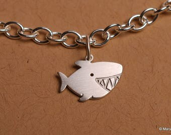 Little Shark Charm Bracelet Sterling Silver