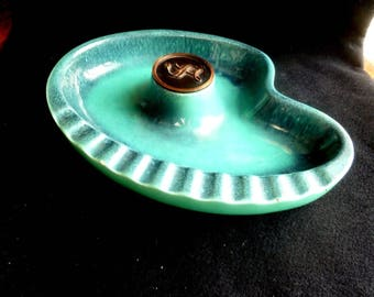 "Vintage Mid Century Ashtray Atomic Blue with ""S"" Hyde Park USA #1970"